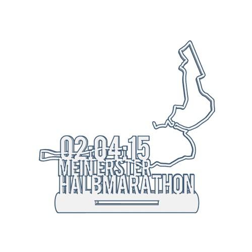 Mein erster Halbmarathon mit Strecke Medaillenhalter